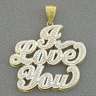 """10kt Gold """"I Love You"""" Double Plate Diamond Pendant Necklace NP44"""