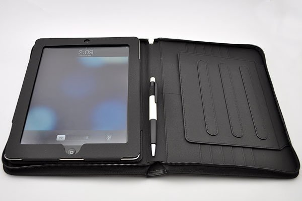 Zip leather stand case with stylus holder for The new iPad and iPad 2