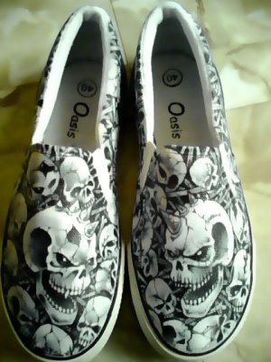 Halloween Skulls Hand Painted Shoes (Unisex slip on)