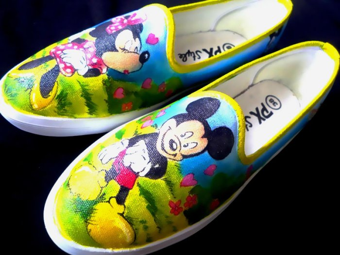 Mickey n Minnie Mouse Airbrushed Shoes (women's slip on)