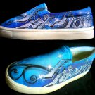Hip Hop Blue Grafiti Airbrushed Shoes (Unisex slip on)