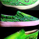 Souljah Green Grafiti Airbrushed Shoes (Unisex slip on)