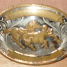 Western Calf Roping Belt Buckle German Silver Vintage