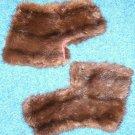 Vintage Mink Fur Cuffs Collar Mahogany color