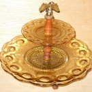 Amber Glass Candy Relish Tray Dish 2 Tiers Vintage Colonial