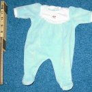 American Girl Doll Bitty Baby Green Velour Sleeper Outfit