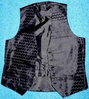 Edwards Black Brocade Vest Mens Size Medium Waiter Uniform New