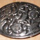Oval Gothic Floral Belt Buckle Vintage Sliver & Black Tone