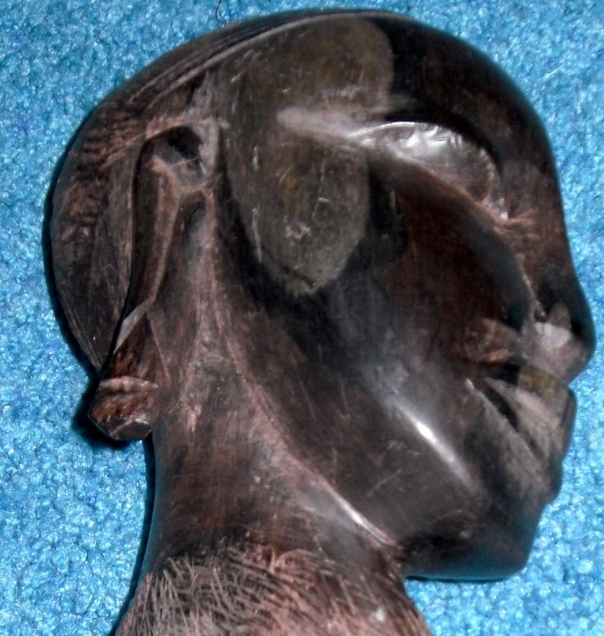 African Ironwood Carving Sculpture Bust, Male Head