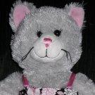 Build-a-Bear Grey Kitty Cat Flower Print Dress