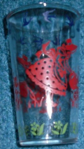 Hazel Atlas Glass Jar Girl Watering Flowers Sour Cream
