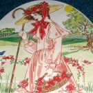 Victorian Gibson Girl Oval Tin with Handles Basket