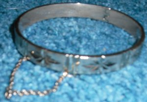 Hinged Ornate Etched Bracelet with Chain Costume Jewelry