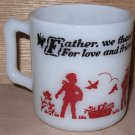 Anchor Hocking Child Mug Prayer D Handle Fire King Milk Glass