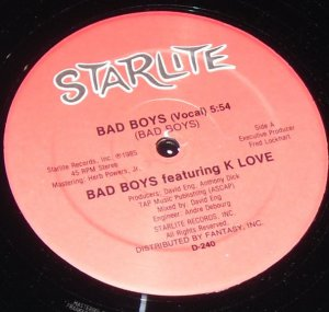 "Bad Boys featuring K Love 12"" record Starlight D-240"