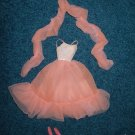Barbie Doll Peach Chiffon Gown with Shoes