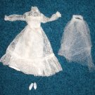 Barbie Lace Bride Gown Veil and Shoes