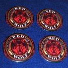 4 Red Wolf Lager Beer Pinbacks Buttons Pins