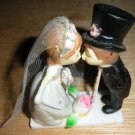 Vintage Bride & Groom Kissing Plastic Cake Topper