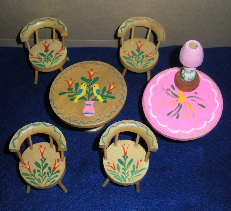 Hand Painted Wood Doll House Furniture Tables Chairs