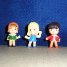 3 Dollhouse Dolls Family School Children PVC Figures