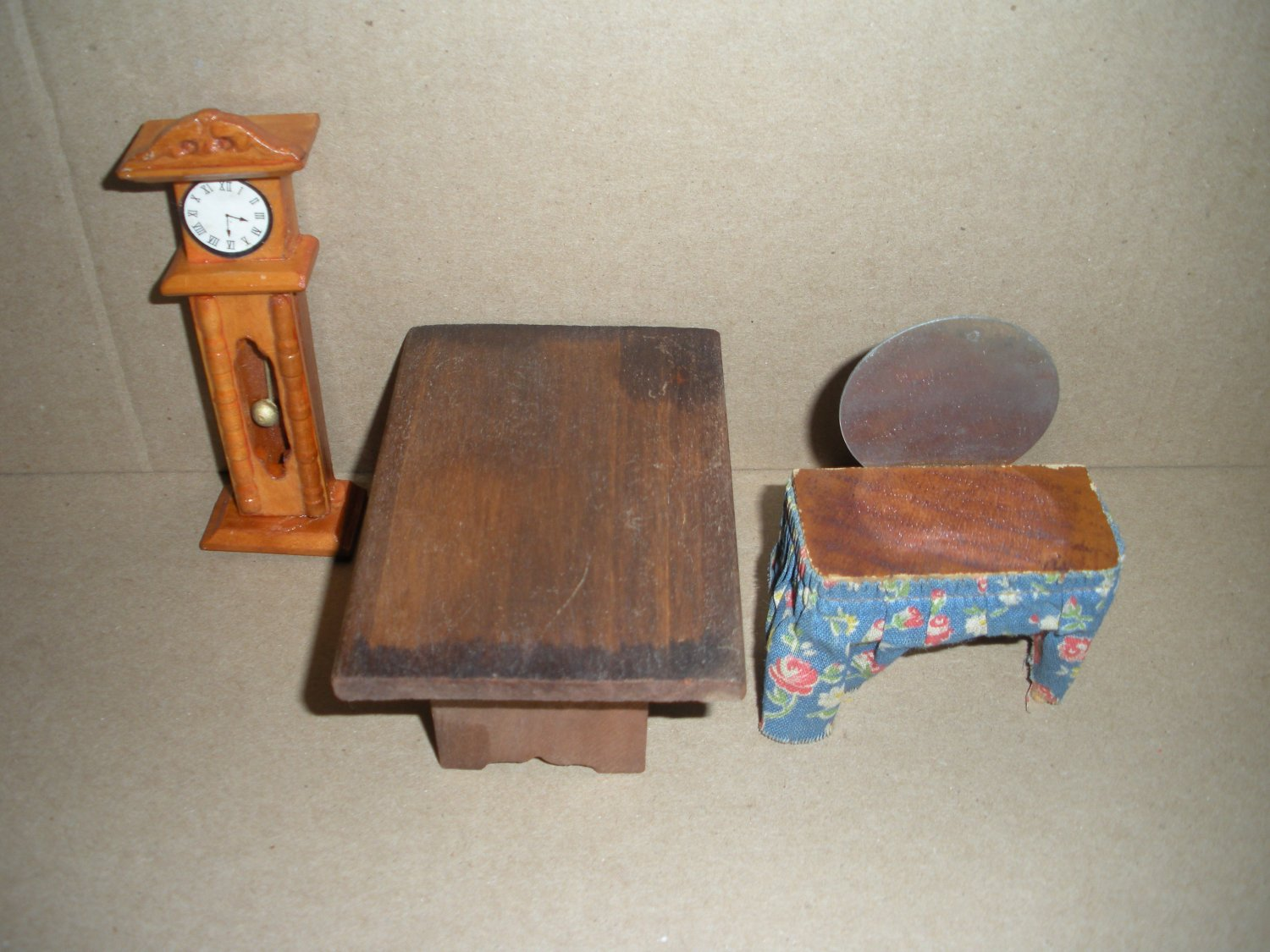 Wood Dollhouse Furniture Grandfather Clock, Table, Vanity
