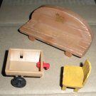 Maple Town Dollhouse Furniture Bench Chair Cart