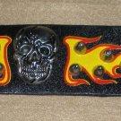 Biker Black Leather Band Skull Gothic Punk