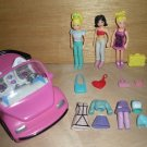 Polly Pocket Car, 3 dolls, Clothes & Accessories