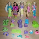 5 Polly Pocket Dolls, Rooted Hair, African American, Sparkles, Braids Lot F