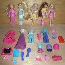 5 Polly Pocket Dolls, Rooted Hair, Brunette, 4 Blondes Lot G