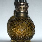 Amber Hobnail Miniature Oil Lamp