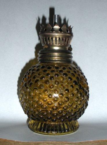 Amber Hobnail Miniature Oil Lamp