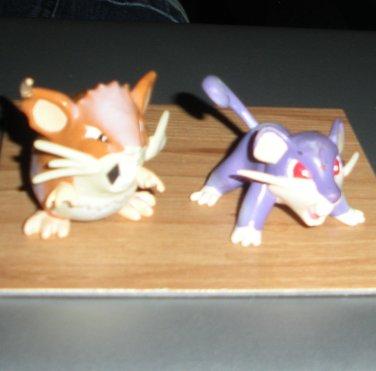 Pokemon Ratocate & Rattata Figures Auldey Tomy