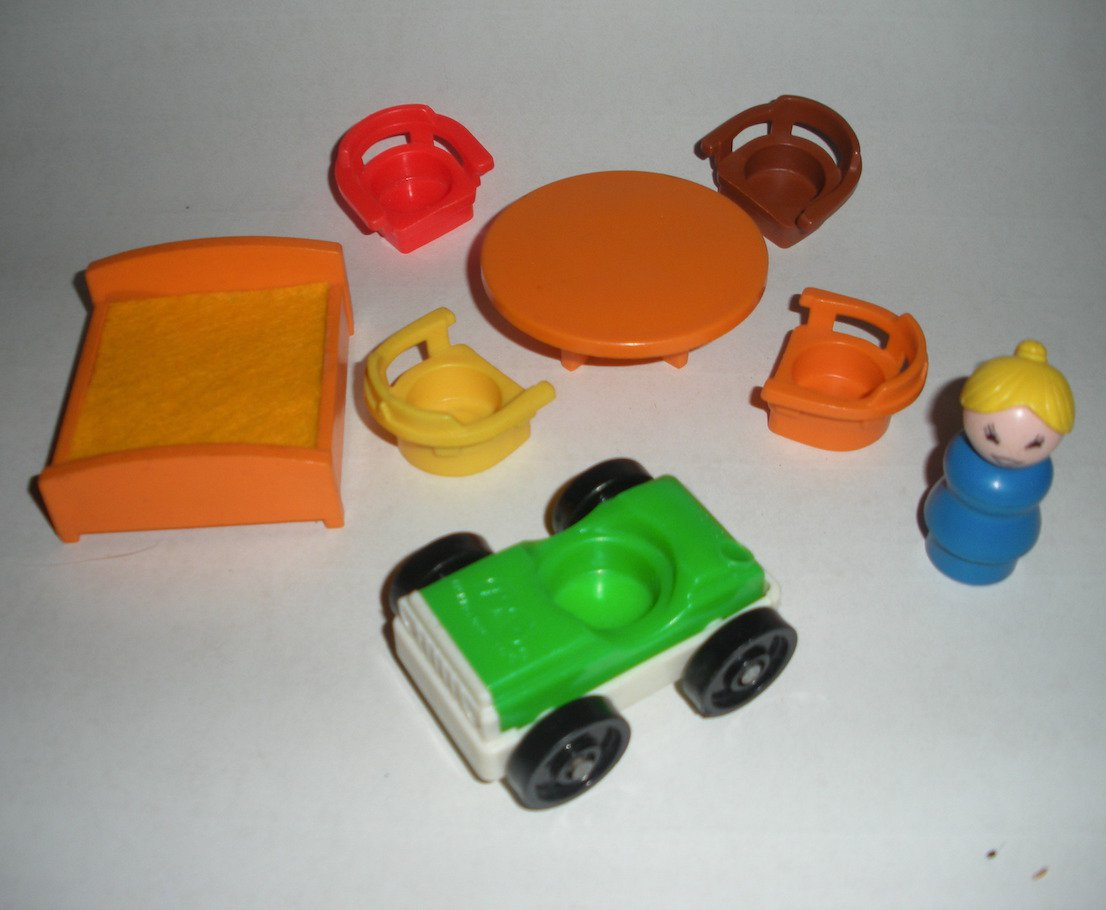 Little People Furniture Table Chairs Bed Car Fisher Price Lot 17