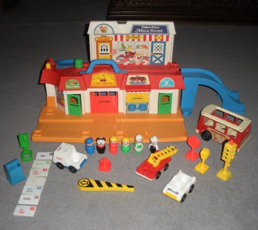 Little People Main Street 2500 Complete Mail Firetruck Taxi