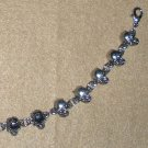 Bracelet with Silver Skulls Biker Jewelry Gothic Punk