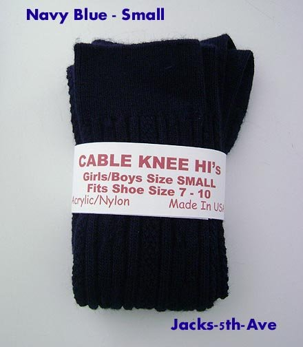 CABLE Knee Socks - Boy Girl NAVY Size SMALL Shoe 7 - 10