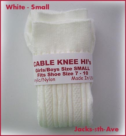 CABLE Knee Hi Socks - Boys Girls Size MED Shoe 10.5 - 3