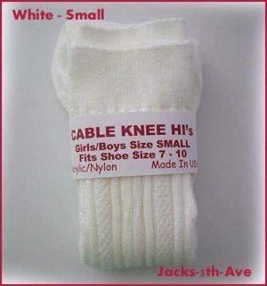 CABLE Knee Hi Socks - Boys Girls Size MED Shoe 10.5 - 3