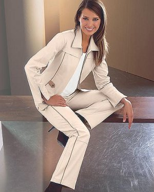 Womens 10 SPIEGEL Faux Leather Trim Pants NWT