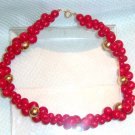 VINTAGE TRIFARI-RED acrylic  beaded necklace
