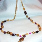 vintage-necklace  gold tone beads with amethyst lobster clasp 1960's