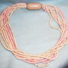 Vintage macaroni style 1950's pastel 7 strand necklace WOW!