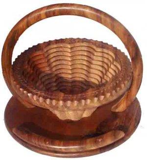 Handmade Hand Carved Flower Basket