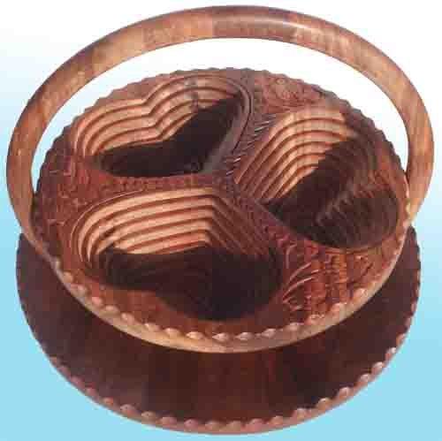 Handmade Heart Basket : Handmade heart shaped rosewood collapsible folded basket