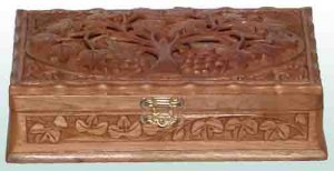 Hand Carved Walnut Jewelry Box for women/girls - Free Shipping