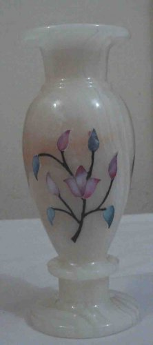 White Flower Vase - Shell Inlay Home Decor