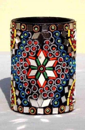 Handmade Pencil Jar - Indian Mirror Work - Free Shipping