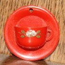 MID CENTURY SHADE PULL CUP SAUCER/TINY WALL POCKET